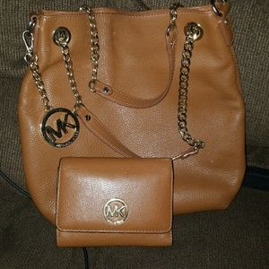 MK tan Leather Bag with Matching Walled